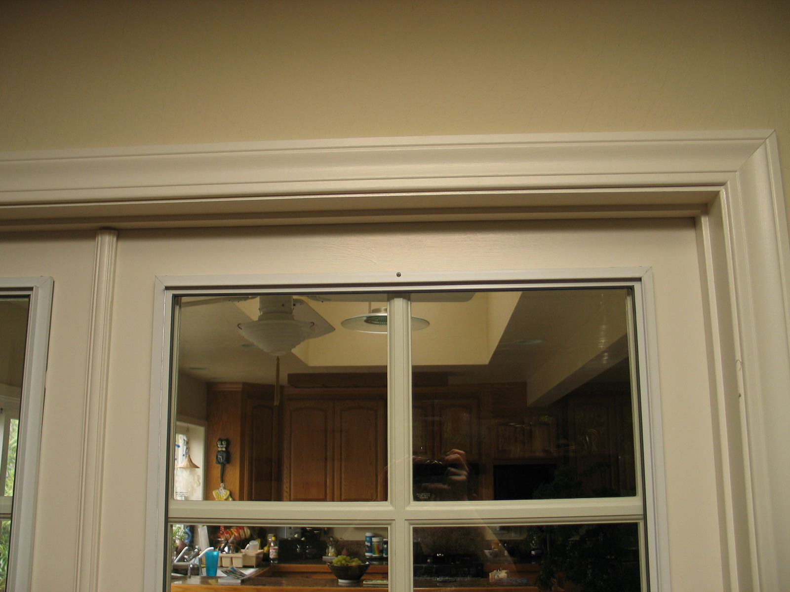 Close-Up of Soundproofing Glass Panel Mounted on an Interior French Door